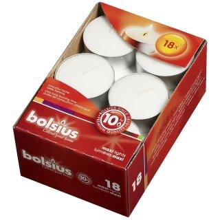 Bolsius Maxilichte 18er Box 10 Stunden Brenndauer weiß (4 Stück)