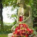 Bolsius Grablicht Glas Memento mit Sturmdeckel rot