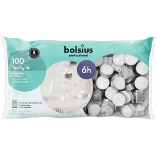 Teelichter weiß mit 6 Std. Brenndauer im 100er Beutel Bolsius Professional (100 Stück)