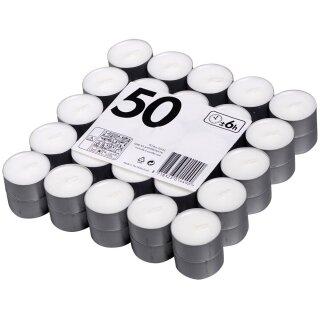 Teelichter weiß ca. 6 Std. Brenndauer im 50er Pack KFS & B Candles