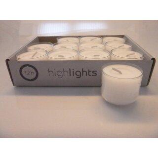 96 Stück Bolsius Teelichter Acryl Cup ca 8 Stunden Brenndauer Teelicht Weiß