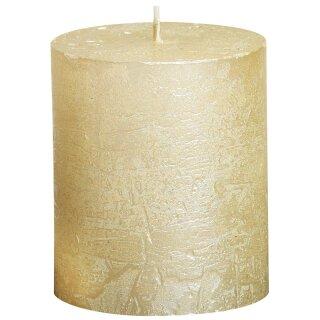 6 Bolsius Rustik Metallic Stumpen Kerzen 80x68 mm Sensation verschiedene Farben