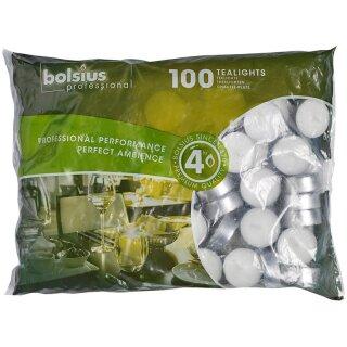 100 Teelichter weiß mit 4 Std. Brenndauer im 100er Beutel Bolsius Professional